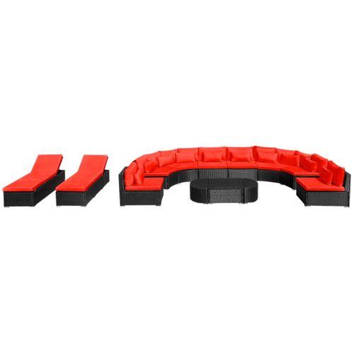 VidaXL 13-delige Loungeset + kussens poly rattan rood
