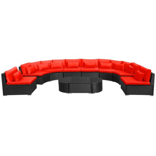 VidaXL 11-delige Loungeset + kussens poly rattan rood