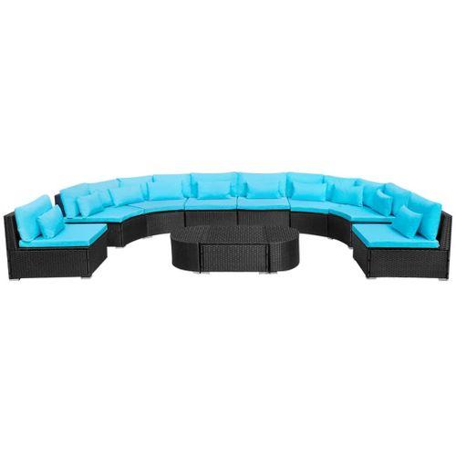 VidaXL 11-delige Loungeset + kussens poly rattan blauw