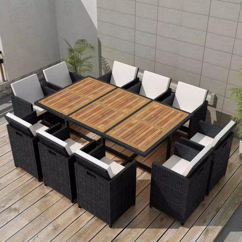 VidaXL 11-delige tuinset + kussens poly rattan acaciahout zwart