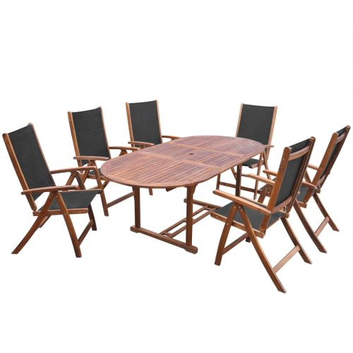 VidaXL 7-delige tuinset massief acaciahout uitschuifbare tafel