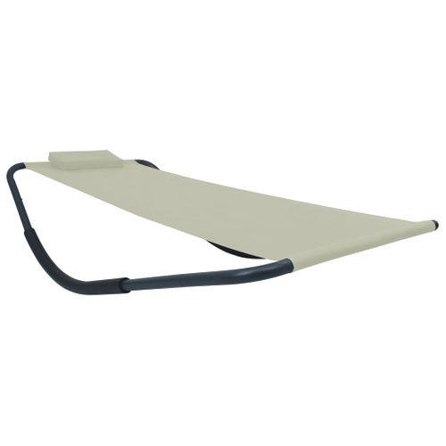 VidaXL ligstoel 200x90cm staal crème
