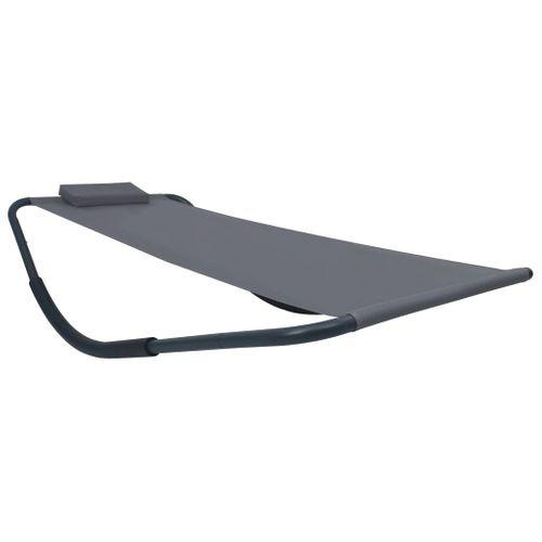 VidaXL ligstoel 200x90cm staal grijs