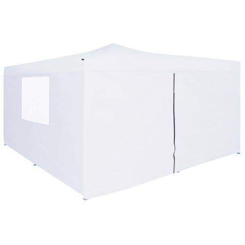 VidaXL prieel inklapbaar met 4 zijwanden wit 5x5m