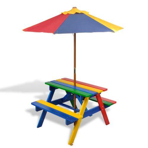 VidaXL kinderpicknicktafel met banken parasol hout meerkleurig