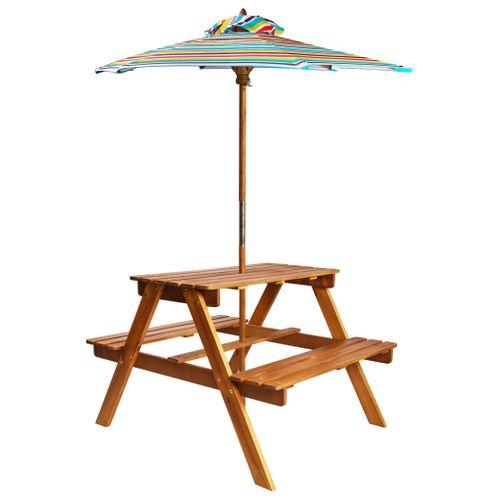 VidaXL kinderpicknicktafel met parasol 79x90x60cm massief acaciahout