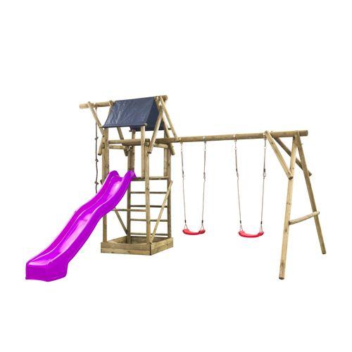 Terrain de jeux SwingKing Niels violet avec toboggan 3m