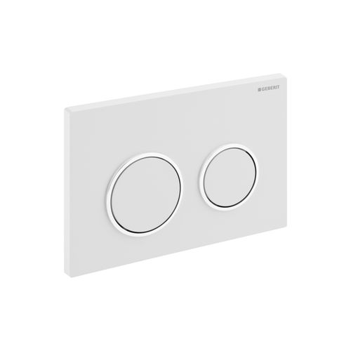 Plaque de commande Geberit Omega 20 blanc/chrome brillant 212x142mm