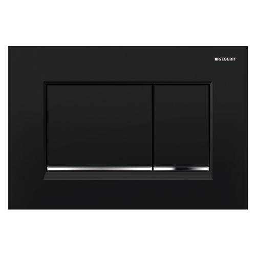 Plaque de commande pour réservoir encastré Geberit Sigma 30 noir/chrome brillant 246x164mm