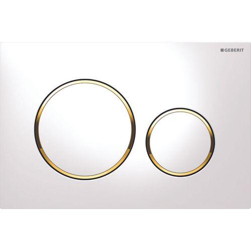 Plaque de commande pour réservoir encastré Geberit Sigma 20 dorée/blanche 246x164mm