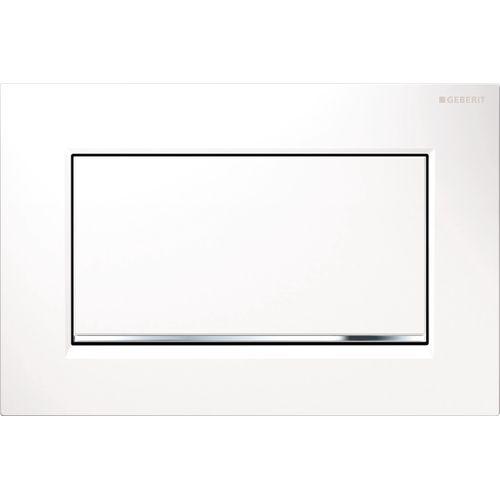 Plaque de commande avec bouton marche arrêt Geberit Sigma 30 zinc moulé sous pression blanche/chrome 246x164mm