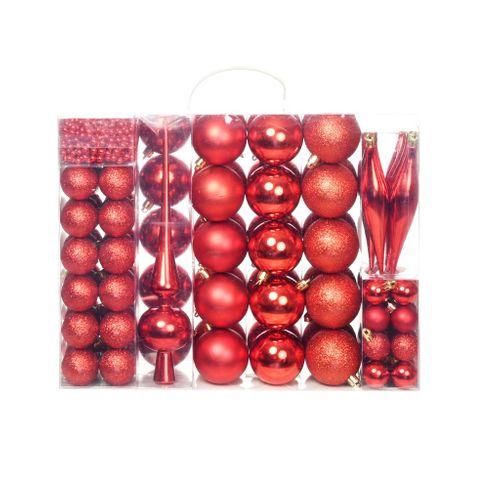 VidaXL rode kerstballen set 113 stuks