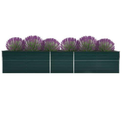 VidaXL plantenbak verhoogd 400x80x45cm gegalvaniseerd staal groen