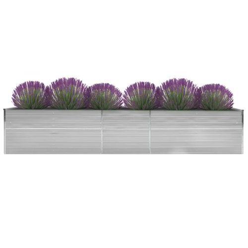 VidaXL plantenbak verhoogd 400x80x77cm gegalvaniseerd staal grijs
