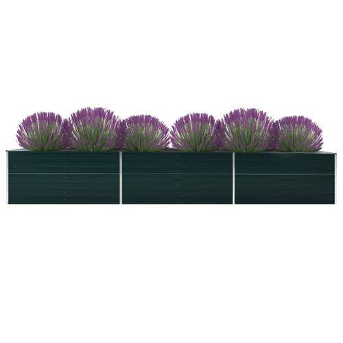 VidaXL plantenbak verhoogd 480x80x45cm gegalvaniseerd staal groen