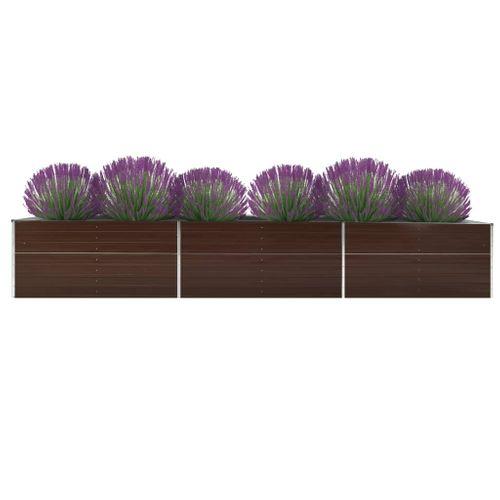 VidaXL plantenbak verhoogd 480x80x45cm gegalvaniseerd staal bruin