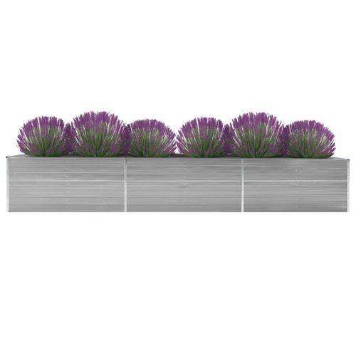 VidaXL plantenbak verhoogd 480x80x77cm gegalvaniseerd staal grijs