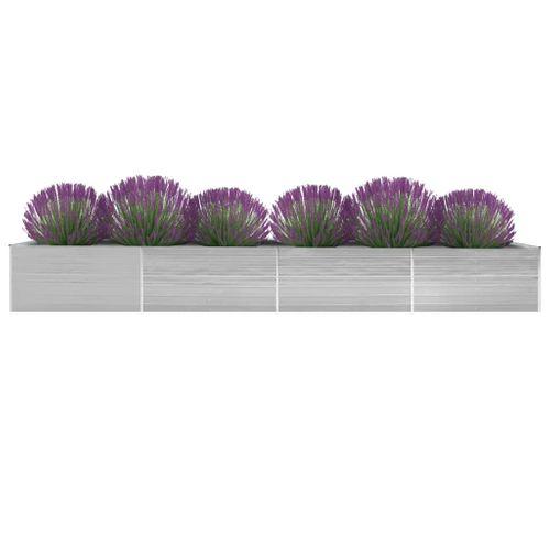 VidaXL plantenbak verhoogd 600x80x45cm gegalvaniseerd staal grijs
