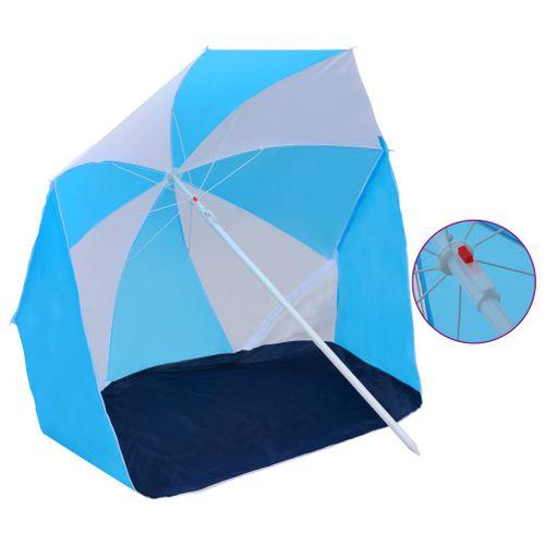 VidaXL strandparasol/-tent 180 cm stof blauw en wit