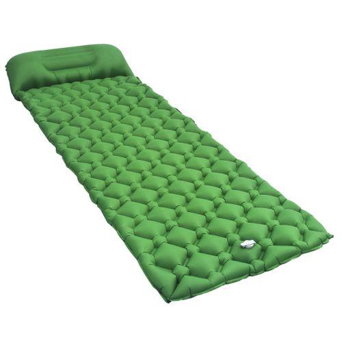 VidaXL luchtbed met kussen opblaasbaar 58x190cm groen