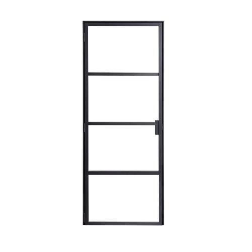 Binnendeur Loft linksdraaiend zwart aluminium 211,5x78cm