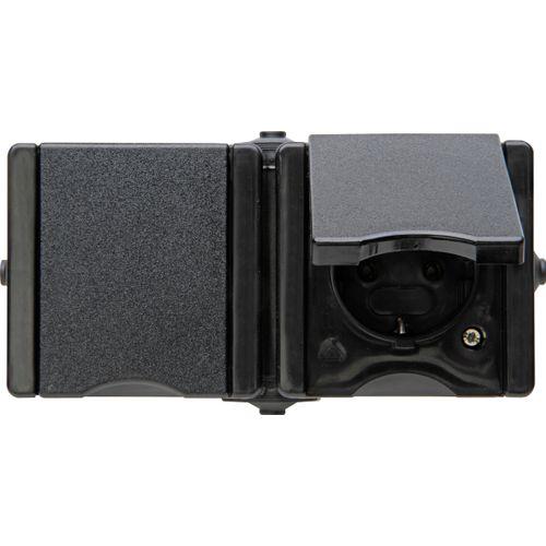Kopp wandcontactdoos ProAQA 2-voudig randaarde horizontaal spatwaterdicht zwart