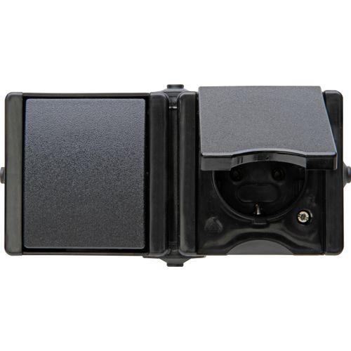 Kopp combinatie wisselschakelaar + wandcontactdoos ProAQA 1-voudig geaard spatwaterdicht zwart