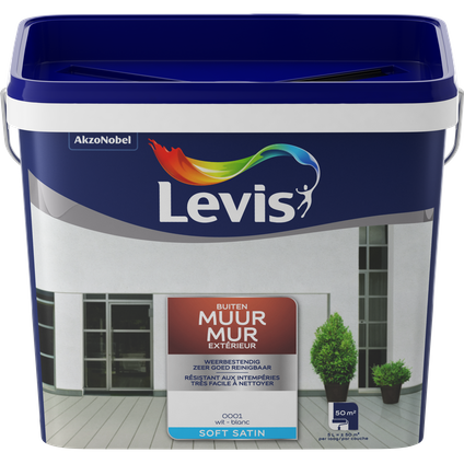Peinture façade Levis 'Expert' blanc mat 5L