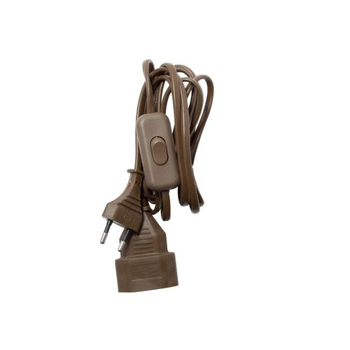 Chacon verlengsnoer H03VVH2F 2x0,75mm² + schakelaar 2,5A 2m bruin