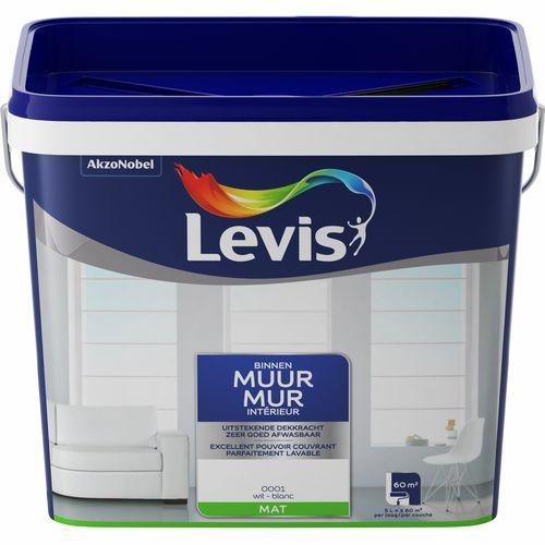 Levis muurverf Muur binnen wit mat 5L