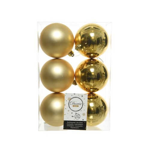 Boules de Noël Decoris plastique or 8cm 6pcs