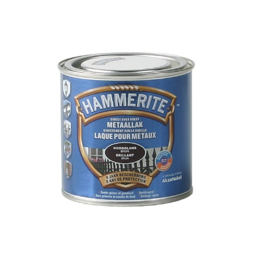 Hammerite hoogglanslak donker bruin  250ml