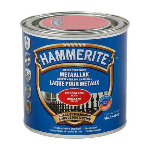 Laque métaux Hammerite brillant rouge 250ml