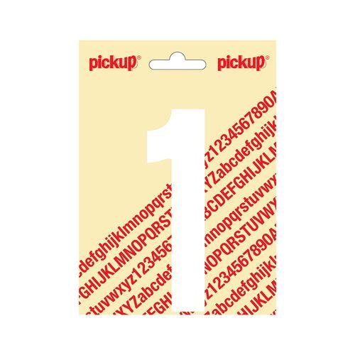Pickup plakcijfer één wit mat 120mm