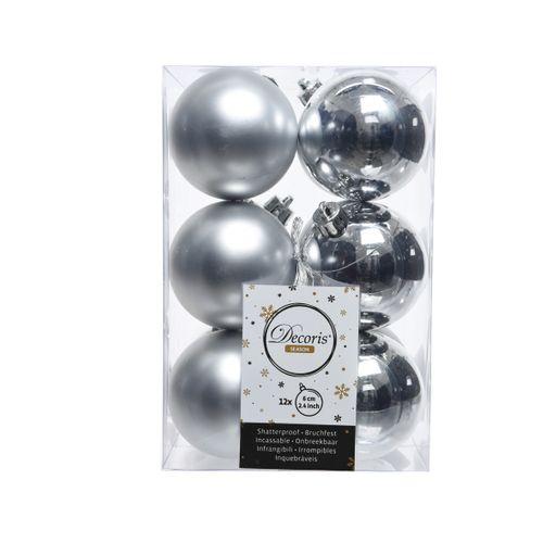Boules de Noël argent mixte 6cm 12 pièces