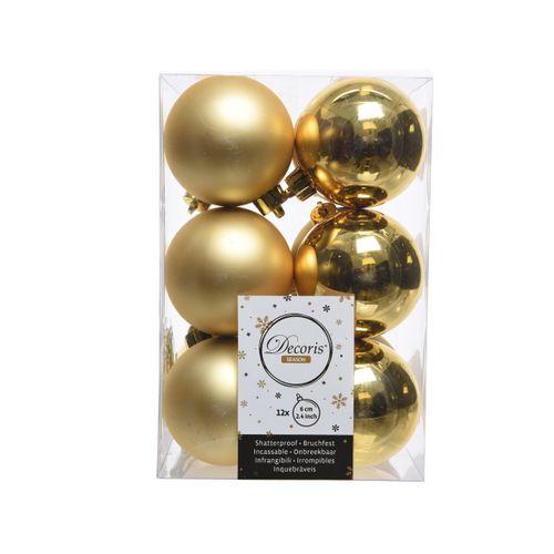 Boules de Noël Decoris plastique or 6cm 12pcs