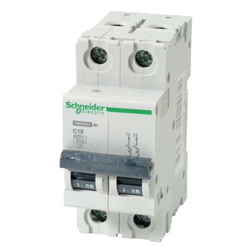 Disjoncteur Schneider modulaire 2P 10A gris