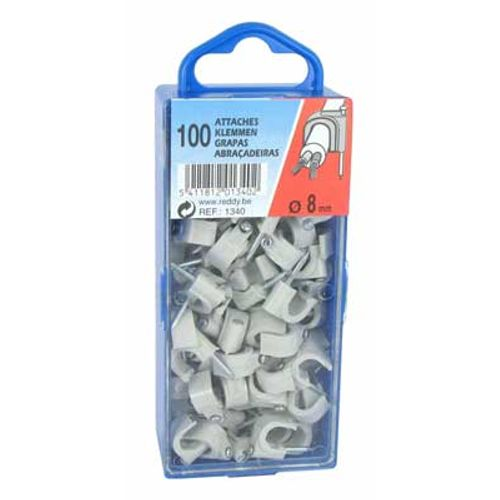 Reddy clips 8mm grijs 100st.