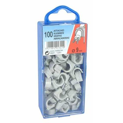 Reddy clips 9mm grijs 100st.