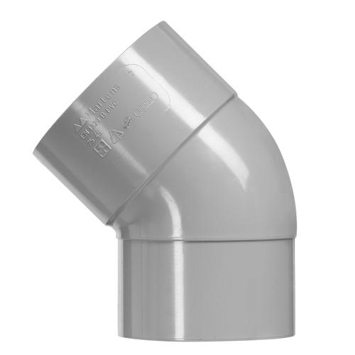 Martens PVC bocht 40mm 1xlm 45gr grijs