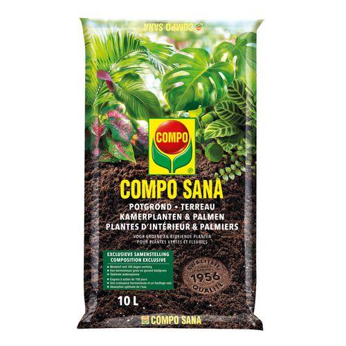 Terreau pour plantes d'intérieur et palmiers Compo Sana 10L