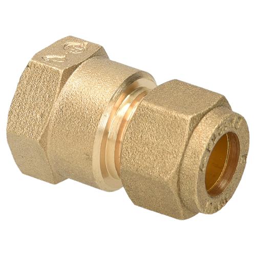 Sanivesk koppeling recht messing 3/8V x 12 mm