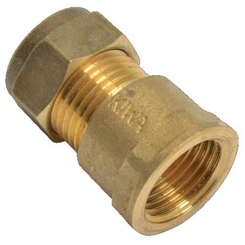 Sanivesk koppeling recht messing 1/2V x 12 mm