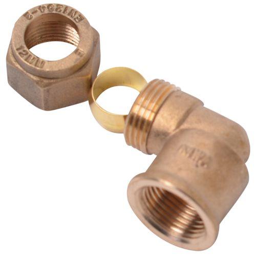 Coude à raccord compression et filet Sanivesk laiton 1/2 F x 12 mm