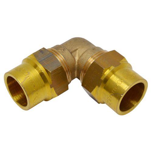 Coude à raccord compression gaz naturelle Sanivesk laiton 15 x 15 mm