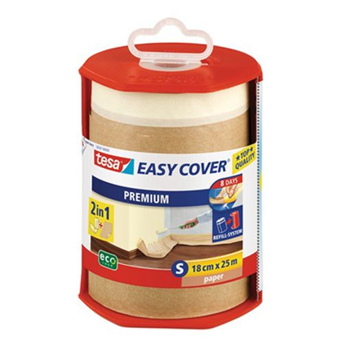 Derouleur papier et ruban de masquage Tesa 'Easy Cover' transparent 25mx18cm