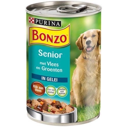 Bonzo blik senior gelei vlees & groenten 400 gr