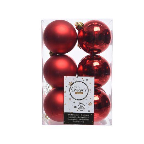 Decoris kerstballen kunststof rood 6cm 12 stuks