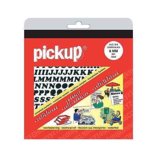 Pickup plakletters & cijfers A-Z nul-negen zwart 8mm