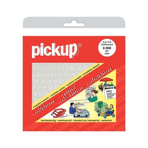 Pickup plakletters & cijfers A-Z nul-negen wit 8mm